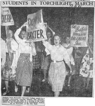 Torch Procession to Newcastle Town Hall 1961