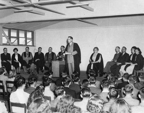 MR G. H. Duncan Addressing the first assembly Tuesday 1st March 1949