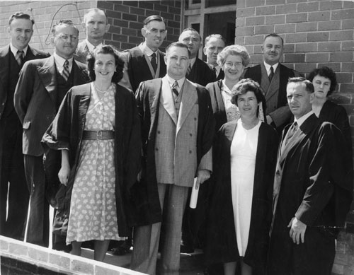 Mr G.H. Duncan with staff, 1949.