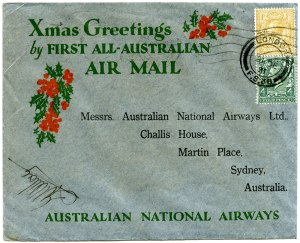 Xmas Greetings by the First All Australian Air Mail