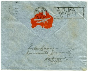 Xmas Greetings by the First All Australian Air Mail (verso)