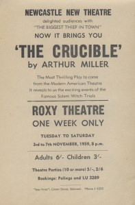 Flyer for 'The Crucible'