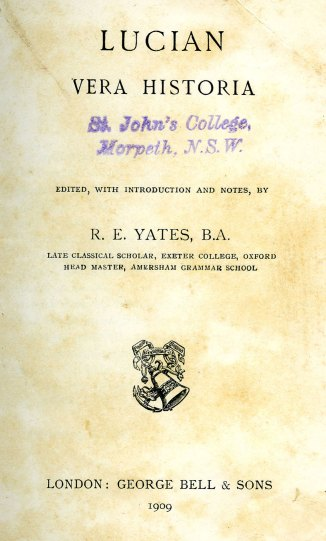 Title page of Lucian's 'True History'