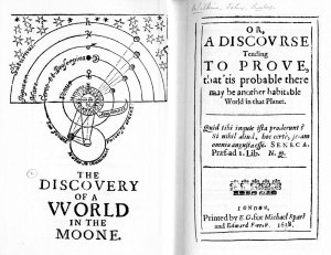 Title page of Wilkin's Discovery of a World in the Moon (1638)