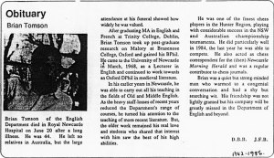 Obituary for Brian Tomson From University News Volume 12, No.11, July 7-21 1986.