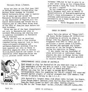 Obituary for Brian Tomson by Ruik Bergmann 26 June 1986