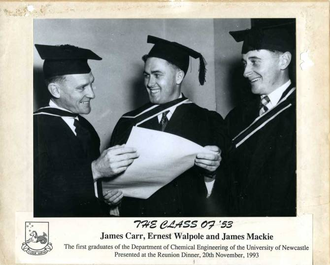 Class of 1953 - James Carr, Ernest Walpole and James Mackie. The first graduates of the Department of Chemical Engineering.