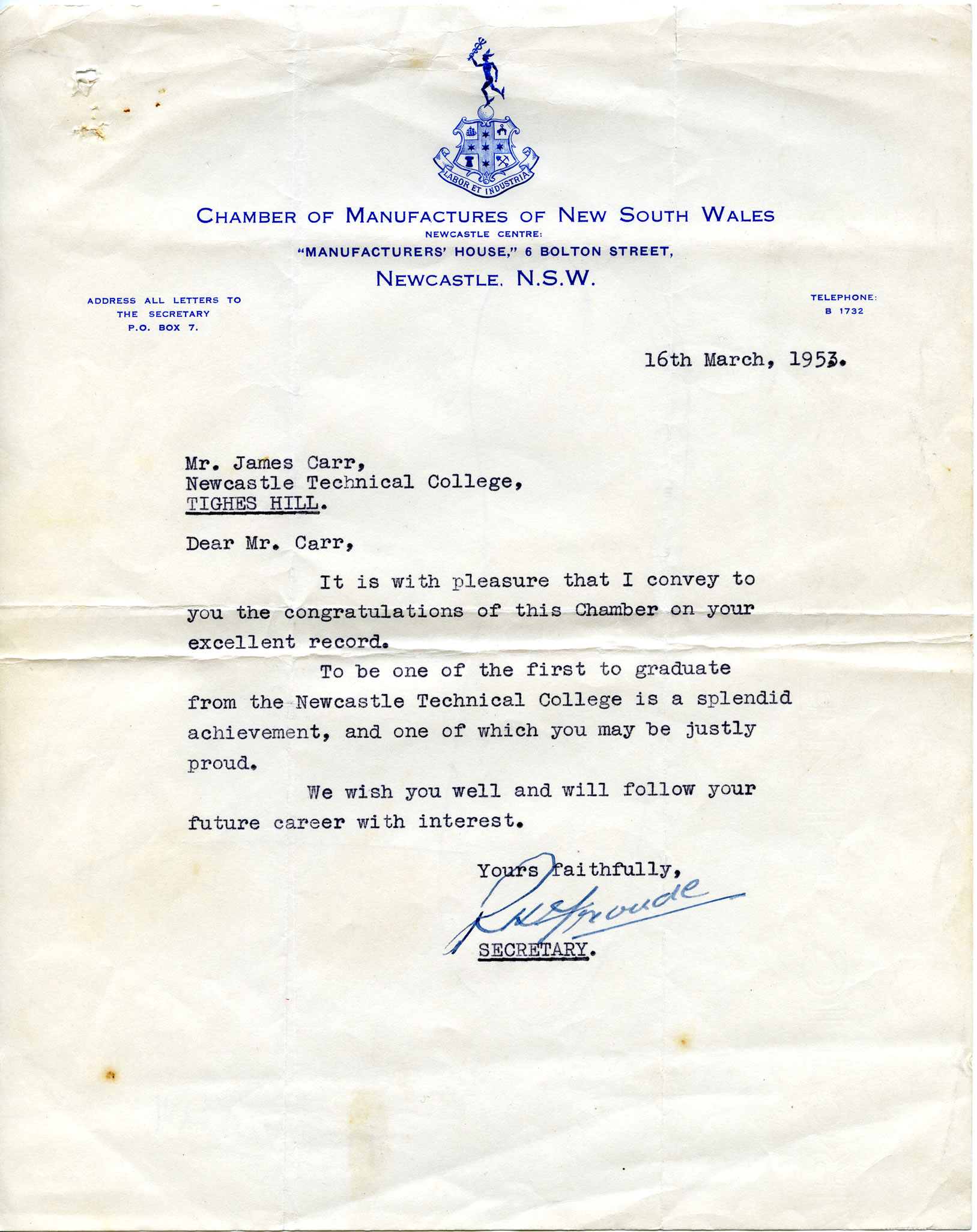 University education cultural collections uon library letter of congratulation from the chamber of manufactures of new south wales stopboris Choice Image