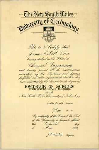 James Carr Bachelor of Science Second Class Honours 16th May 1953