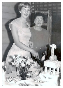 Joan cutting her 21st birthday cake