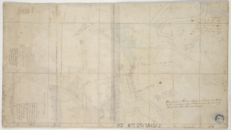 Edward Charles Close (?) Drawing circa 1840 showing  the property as well as the landholdings in the Morpeth district (Courtesy State Library of NSW)