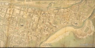 A selection of sites across the township of Newcastle on the 1830 Armstrong plan and overlayed in Google Earth
