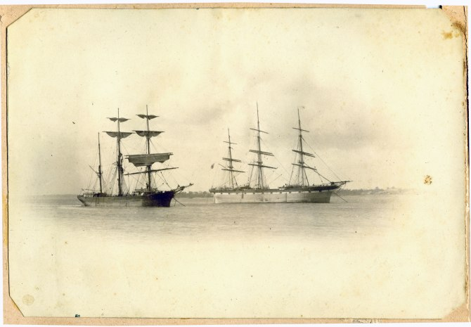 Two vessels in unidentified location (Sydney?) (Photograph by George Freeman)