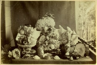 Decorative arrangement of shells, and marine ornamental art in Newcastle (Photograph by George Freeman)