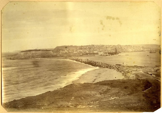 Newcastle Breakwater (Macquarie Pier) taken from Nobbys circa 1880s (Photograph by George Freeman)
