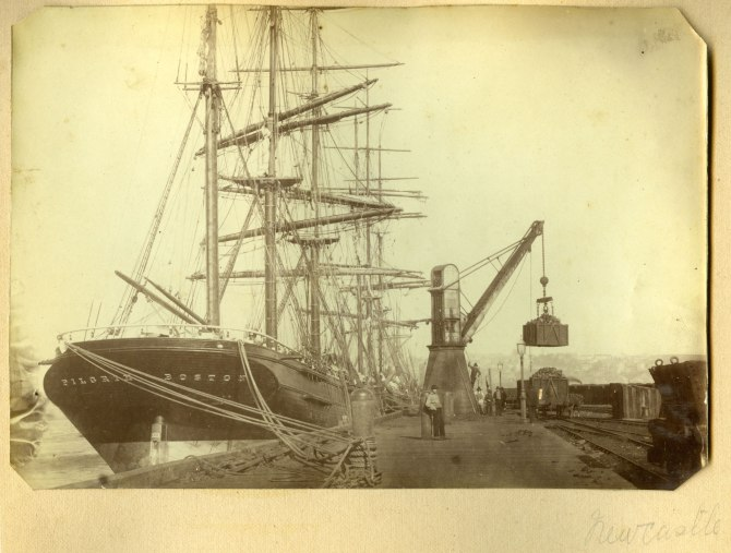 The Pilgrim Boston coal loading in Newcastle Harbour circa 1880s (Photograph by George Freeman)