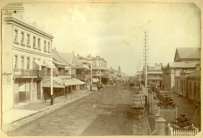 Hunter Street Newcastle near current Lockup Museum and Post Office. Circa 1880s. (Photograph by George Freeman)