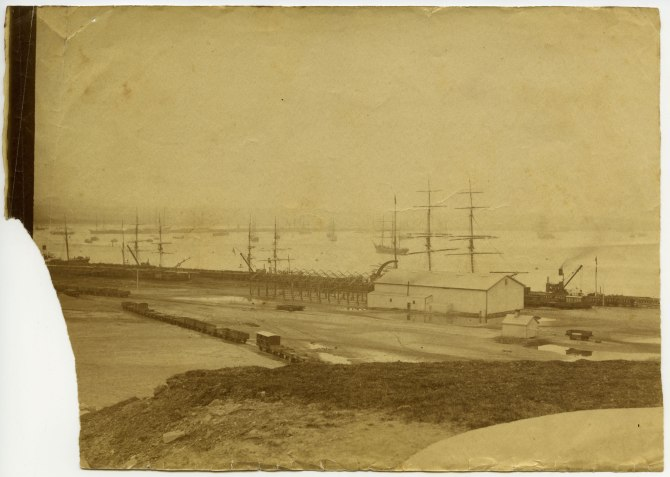 Newcastle wharves circa 1880s (Photograph by George Freeman)