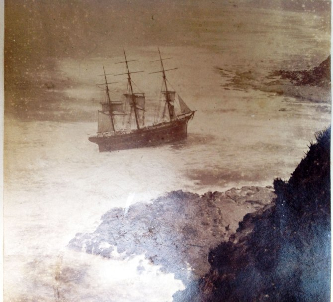 Photograph of Wreck of Susan Gilmore, 1884, from Hyde Family Album PXA-1445-Box5 taken by Dr Ann Hardy 2012 (Courtesy of NSW State Library)