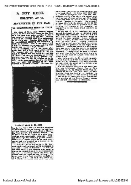 "Sydney Morning Herald story ""A Boy Hero"" that appeared on the 15th April 1920 p.6"