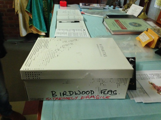 The shoebox in which the remains of the Birdwood Flag had laid since the 1980s. (Photo by Gionni Di Gravio)