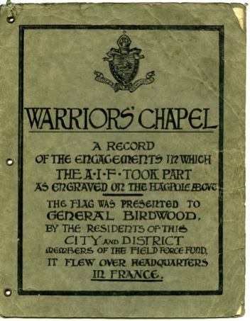 Cover of The Warriors' Chapel Booklet