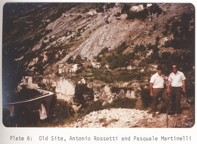 Antonio Rossetti and Pasquale Martinelli photographed at the old site of Lettopalena