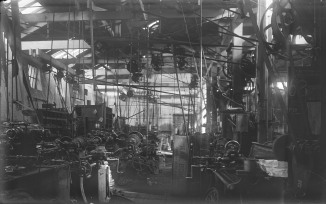 Interior - Unidentified Engineering Workshop (Thomas James Rodoni Original Glass Negative, digitised by Chris Fussell)