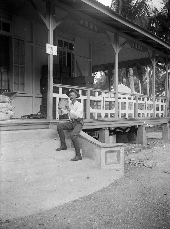 Rodoni photographed with glass plate [?] (Thomas James Rodoni Original Glass Negative, digitised by Chris Fussell)