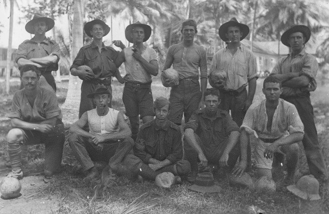 New Guinea - Soldiers with Coconuts (Thomas James Rodoni Original Glass Negative, digitised by Chris Fussell)