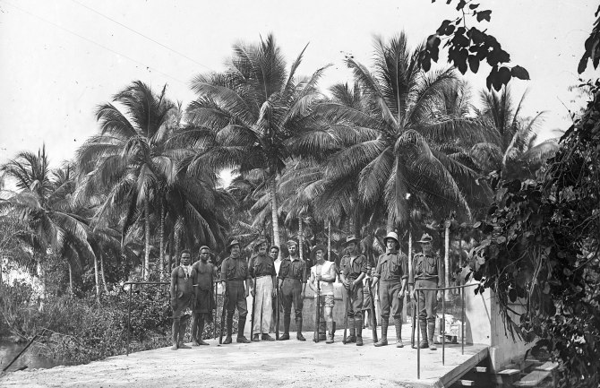 Soldiers and Papuans (Thomas James Rodoni Original Glass Negative, digitised by Chris Fussell)