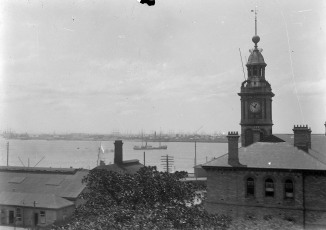 Photograph taken of Newcastle Customs House, from second floor of Great Northern Hotel at 10 minutes to 1 PM date unknown (Thomas James Rodoni Original Glass Negative, digitised by Chris Fussell)