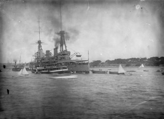 The Australia in Sydney Harbour (Thomas James Rodoni Original Glass Negative, digitised by Chris Fussell)
