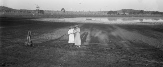 Two Ladies on Shore at Sunrise or Sunset  (Thomas James Rodoni Original Glass Negative, digitised by Chris Fussell)
