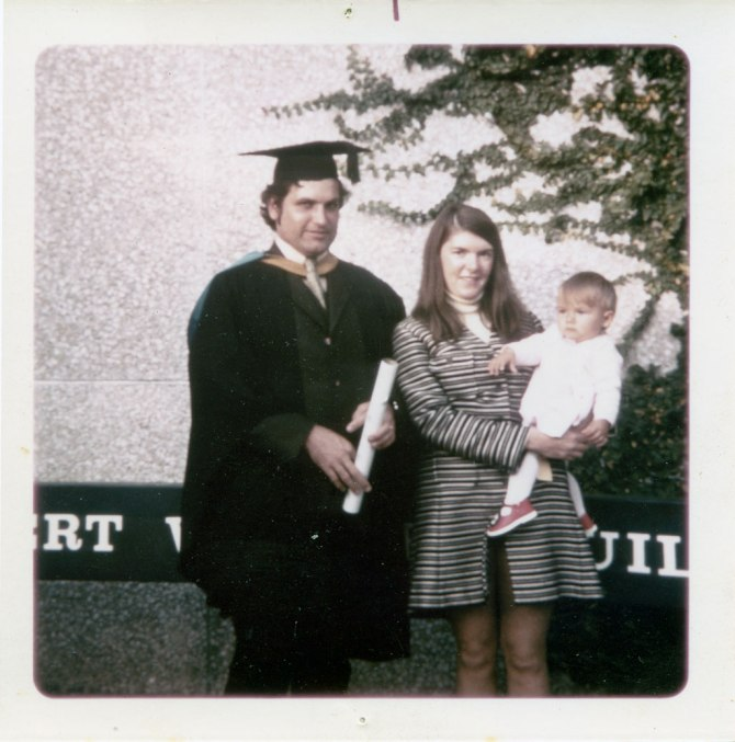 Greg Heys Graduation as Bachelor of Social Work (UNSW) with wife Wendy and baby Sarah, May 1973. (Photo: Courtesy of Wendy Heys)