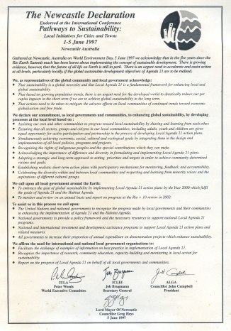 The Newcastle Declaration Endorsed at the International Conference Pathways to Sustainability 1-5 June 1997.
