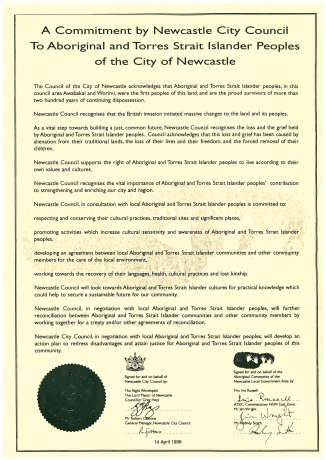 Commitment by Newcastle City Council to Aboriginal and Torres Strait Islander peoples of the City of Newcastle. 14th April 1998.