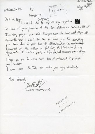 Letter from Jonathan Moylan to Mr Heys 15th September 1999 (Courtesy of Wendy Heys)