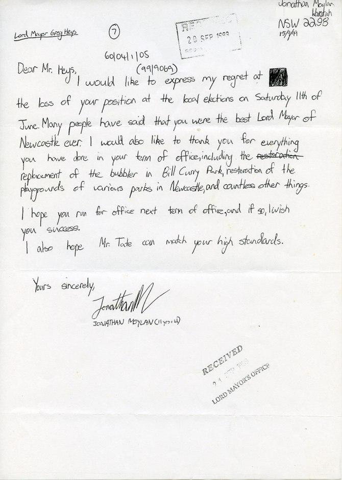 Letter from Jonathan Moylan to Mr Heys 15th September 1999 (Courtesy of Wendy Heys)