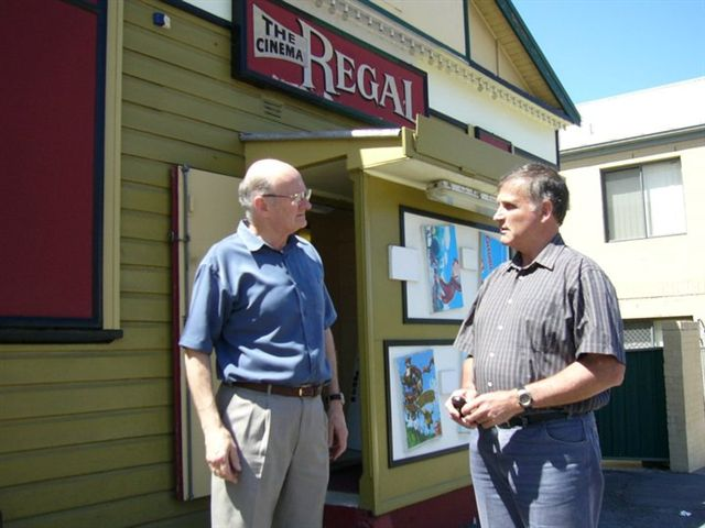 Greg with Bruce Avard out the front of the Regal Cinema Birmingham Gardens in 2006.