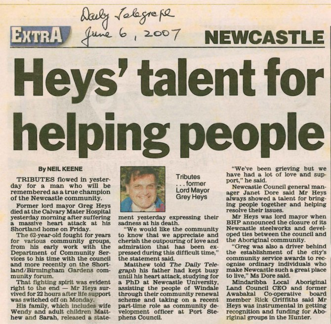"""""""Heys' talent for helping people"""" Daily Telegraph 6 June 2007"""