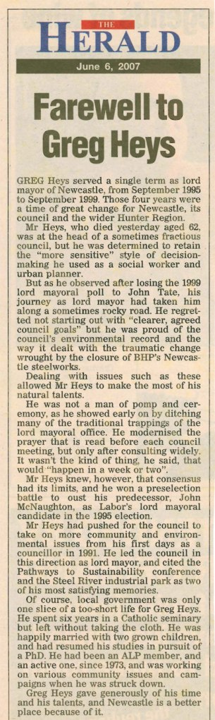 """Farewell to Greg Heys"" Newcastle Herald Editorial June 6th 2007"