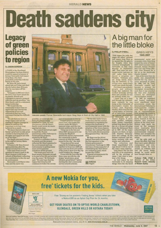 """Death saddens city""Newcastle herald June 6the 2007 p.13"