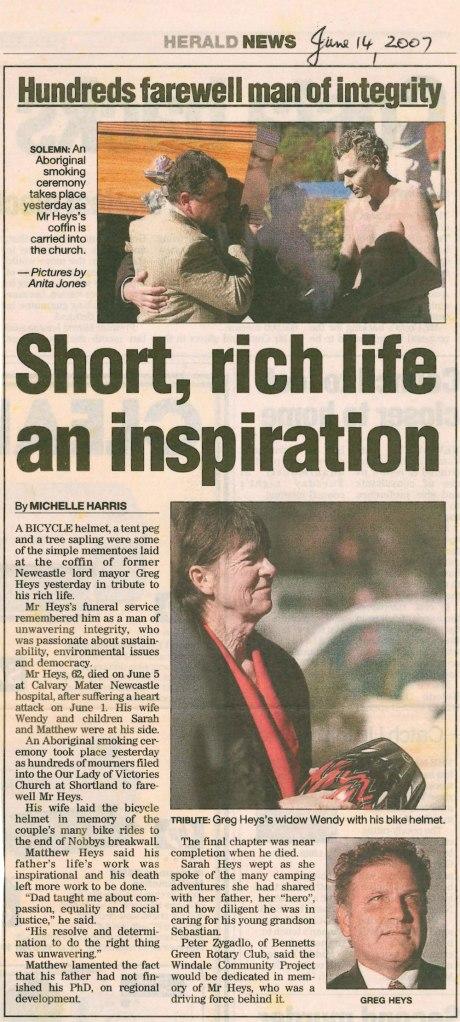 """""""Short, rich life an inspiration. Hundreds farewell man of integrity"""" Newcastle Herald 14th June 2007"""