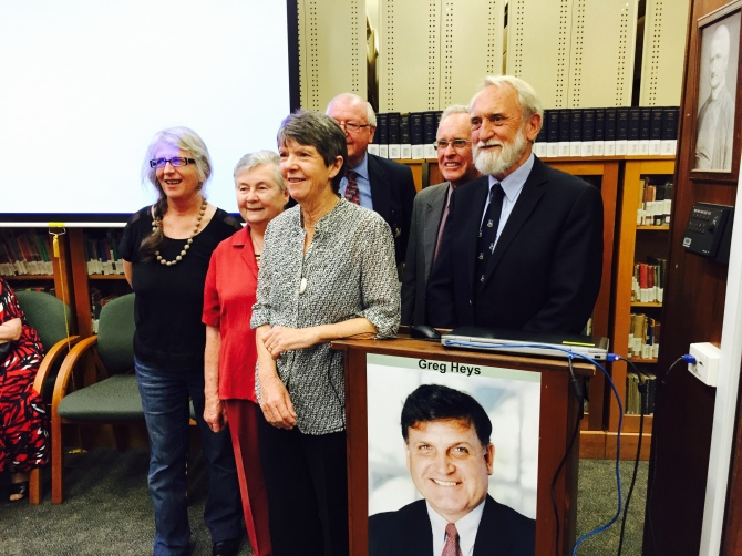 Editorial Team (l-r) Judy Conway, Dr Moira Gordon AM, Wendy Heys, Dr Bernie Curran, Len Regan and Professor Brian English at Launch of Greg Heys Unfinished Thesis on Democratic Governance 29th October 2014.