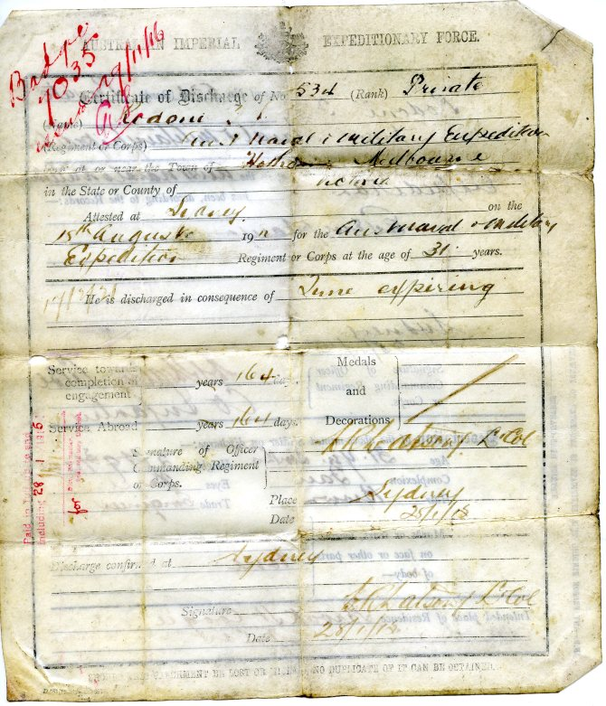 T.J. Rodoni's Australian Imperial Expeditionary Force Discharge Papers 28th January 1915 (recto)
