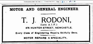 Advertisement in Newcastle Sun 20 May 1919 (Trove)