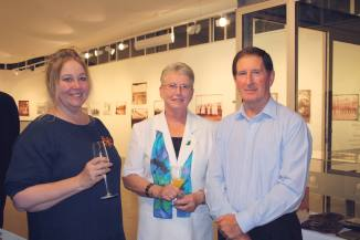 Gillean Shaw (Curator) with -Tess McLeod (nee Rodoni) and husband Jim Mcleod (Photo: Naomi Stewart)