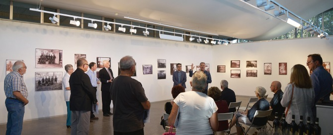 Amir Mogadam (Uni Conservator) and Gionni Di Gravio (Uni Archivist) speaking at the Exhibition launch 27 March 2015 (Photo: Chris Fussell)