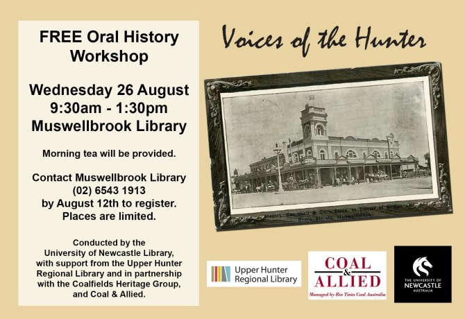 Free Oral History Workshop at Muswellbrook